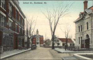 Rockland ME School St. c1910 Postcard NICE COLOR