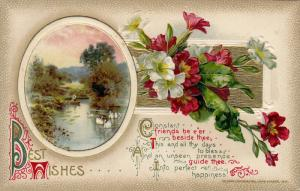 Best Wishes Poem, Red and White Flowers, Person on row boat in river, gold de...