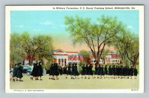 Milledgeville GA, WAVES US Naval Women's Reserve Linen Georgia WWII Postcard