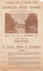 River Thames & Steam Boat Trips From Reading 1930s Antique Leaflet