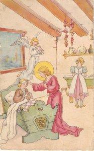 Chjild Jesus visit sich girl Lovely Spanish religious Postcard 1940s