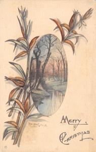 Christmas~Artist Signed Ralph Dille Winter Scene~Handcolor~Lambin Wenigman 1909