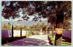 Asti California~Italian Swiss Colony Winery~Visitors @ Statue of Bacchus~1950s