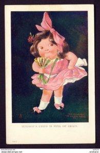 Tuesday's Child Is Full of Grace, 1912 - JS artist - girl fan, bow, rose...