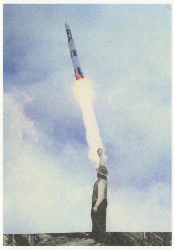 Steven Quinn Farmer Waves To Space Rocket Painting Postcard