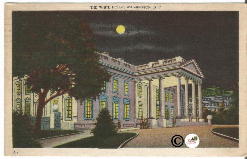 Old Linen Postcard Night Scene The White House Washington D.C. In Moonlight