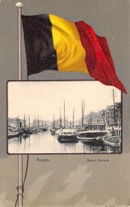 Anvers Belgium~National Flag Over Bassin Flamana~Boats & Ships~1905 Postcard