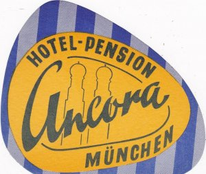 Germany Muenchen Hotel Pension Ancora Vintage Luggage Label sk2576
