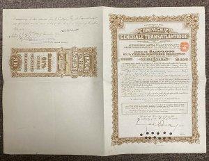 Compagnie Generale Transatlantique, United Kingdom Certificate #B5897, 1957