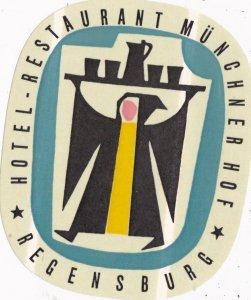 Germany Regensburg Hotel Restaurant Muenchner Hof Vintage Luggage Label sk2660