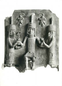 Nigeria king and servants Benin photo postcard