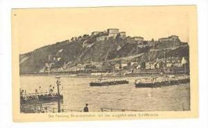 Die Festung Ehrenbreitstein mit der ausgefahrenen Schiffbrucke,Germany 1910s