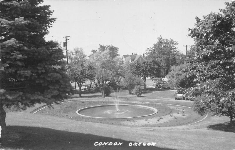 Condon Oregon~Park Scene~Fountain in Pond~Route 19~See Note on Back!~1966 RPPC