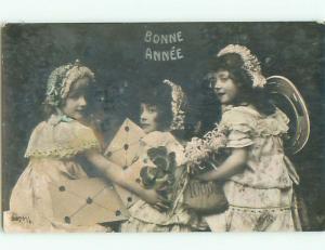 circa 1910 rppc THREE LITTLE FRENCH GIRLS WITH 100,000 MONEY SACK o2556