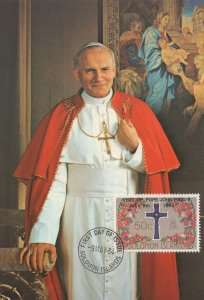 Pope John Paul 1984 Solomon Islands Postcard First Day Cover