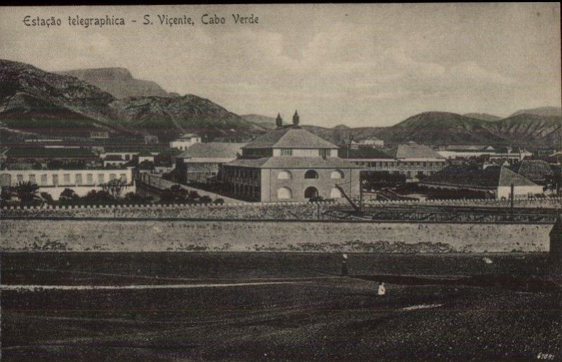 Wireless Telegraph Station S. Vicente Cabo Verde Africa c1910 Postcard jrf