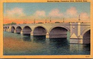 Connecticut Hartford Connecticut River and Hartford Bridge 1952 Curteich