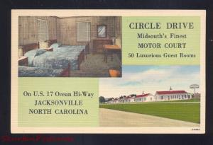 JACKSONVILLE NORTH CAROLINA CIRCLE MOTOR COURT LINEN ADVERTISING POSTCARD