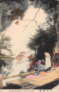 Yudaki Waterfall People Nikko Japana hand colored 1907c postcard