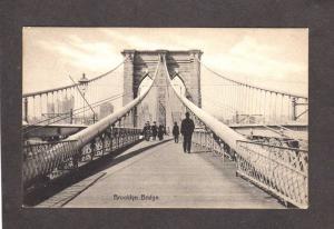 NYC Brooklyn Bridge  New York City Postcard B&W Pc NY