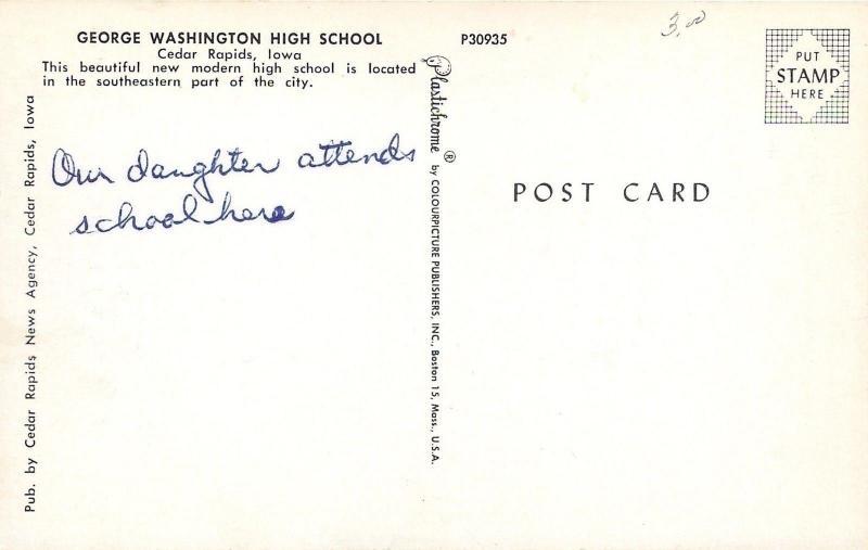 Cedar Rapids IA Our Daughter Attends the new George Washington High School~1956