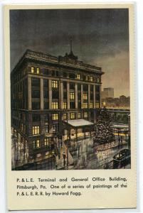 P&LE Railroad Depot Terminal General Office Pittsburgh PA Howard Fogg postcard