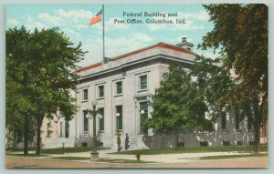 Columbus Indiana~Federal Building & Post Office~Mailman on Steps~c1910