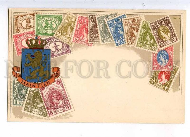 231927 Netherlands Coat of arms STAMPS Vintage Zieher postcard