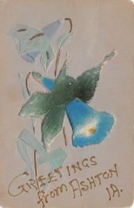 Ashton Iowa~Blue Orchid Greetings~Felt Ad-On~Gold Leaf Embossed~1917 Postcard