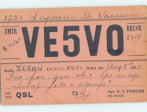 1930s QSL RADIO CARD Vancouver British Columbia BC AH3151