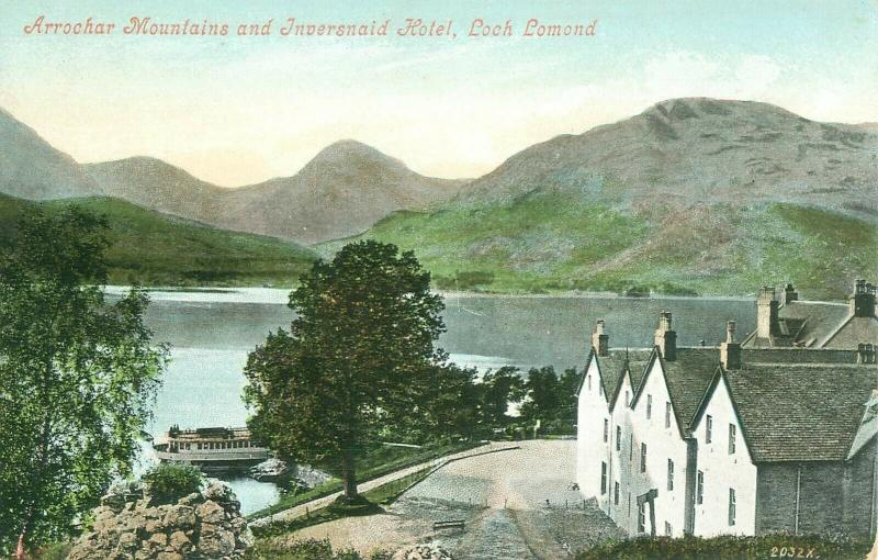 Arrochar Mountains & Inversnaid Hotel Loch Lomond Scotland Old View Postcard