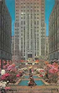 New York City~Rockefeller Center~Channel Gardens~Spring Flowers by Fountain~'50s