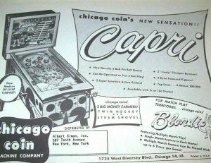 Chicago Coin Capri Pinball FLYER Original NOS 1956 Game Artwork Paper Ephemera