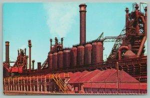 Pueblo~Colorado Fuel & Iron Co Blast Furnaces~Close View of Smoke Stacks~1950s
