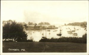 Camden ME Harbor From the Park c1930 Real Photo Postcard