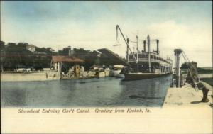 Keokuk IA Steamboat Entering Canal c1905 UDB Postcard