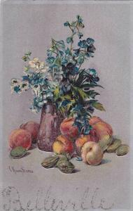 Painting of Blueflowers in vase, peaches, 10-20s