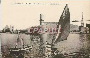 Old Postcard Marseille Fort St John and the Cathedral Boat