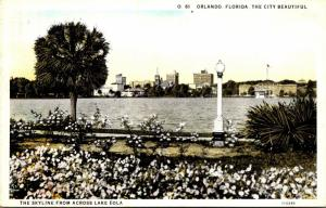 Florida Orlando Skyline From Across Lake Eola Curteich