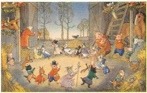 Barn Dance Art by Molly Brett Fantasy Illustration Animals ca 1960s Postcard