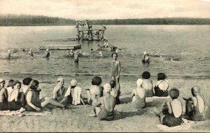 Pennsylvania Pocono Pines Lutherland The Beach At Camp Nawakwa 1937