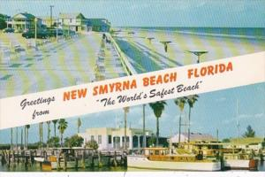 Florida Greetings From New Smyrna Beach World's Safest Beach Showing Boardwal...