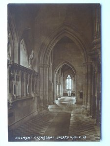 Hereford BELMONT CATHEDRAL / Abbey North Aisle & Font - Old RP Postcard