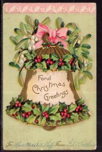 Fond Christmas Greetings Holly Mistletoe BIN