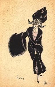 Beautiful Black Dressed Woman Signed Louis Icart Art Deco Postcard