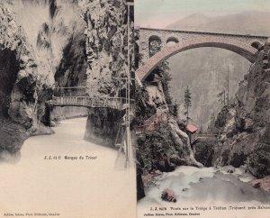 Ponts Sur Le Triege Gorges De Trient Switzerland 2x Antique Postcard s