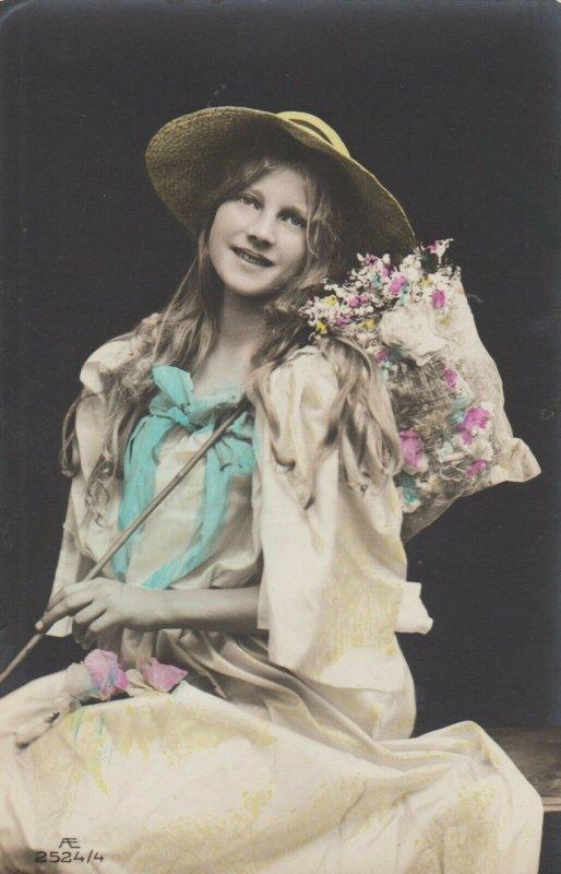 RP: Girl with Butterfly net full of Flowers , 00-10s ; 1/4