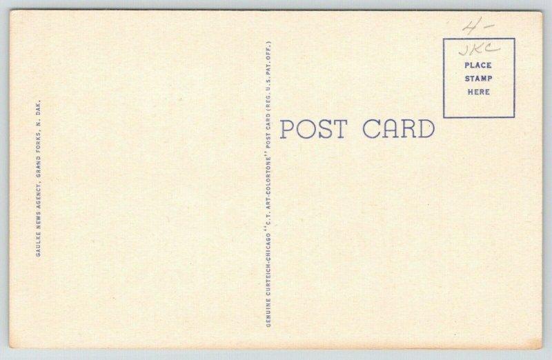 Grand Forks North Dakota~Large Letter Linen Postcard~Bridge~Swimming Pool~1944