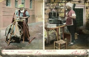 turkey, CONSTANTINOPLE, Aiguiseur and Cafedji Turc (1910s) Moïse Jsraelowitz 76