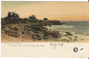 Undivided Back Postcard, Sunset at Bass Rock and Surf Cape Ann Massachusetts